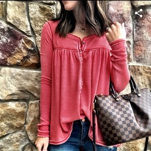 We The Free Kai Henley Waffle knit top NWOT